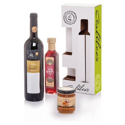 Galilee's All Natural Gift Box with Wine and Honey - Set of 3